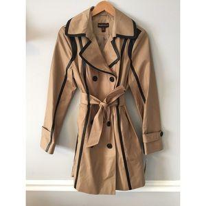 Dana Buchman • Piped Khaki Trench Coat